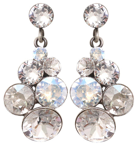 earring stud dangling Petit Glamour icy white antique silver