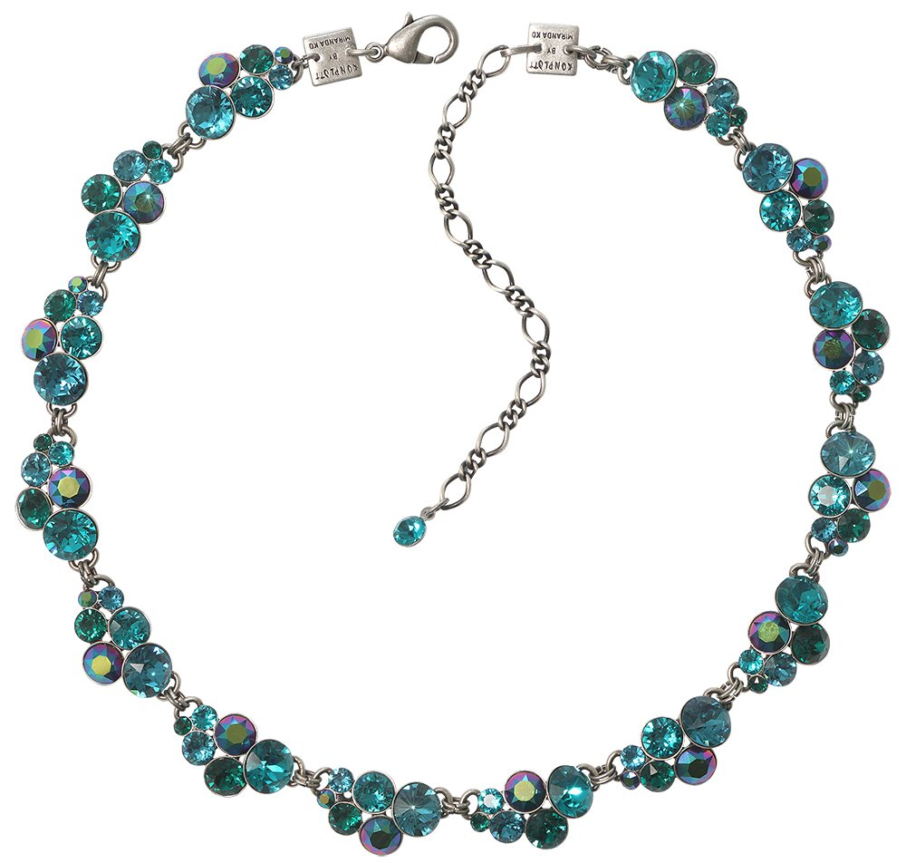 necklace collier Petit Glamour blue/green antique silver