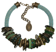 necklace collier Beduin bluish/green Antique Brass/Antique Silver/Gold