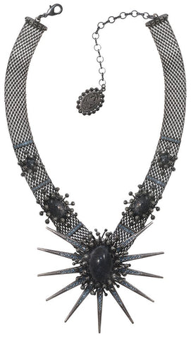 necklace Galaxy in Glass black Gun Metal extra large, medium, small