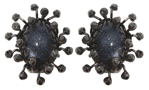 earring clip Galaxy in Glass black gun metal medium