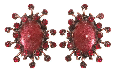 earring clip Galaxy in Glass red antique copper medium
