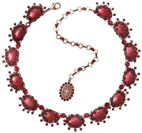 necklace Galaxy in Glass red antique copper medium