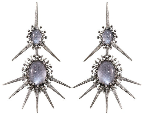 earring stud dangling Galaxy in Glass white/grey antique silver extra large, medium