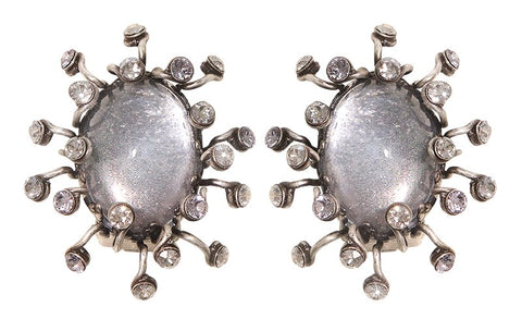 earring clip Galaxy in Glass white/grey antique silver medium