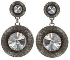 earring stud dangling Rivoli Concave white antique silver large