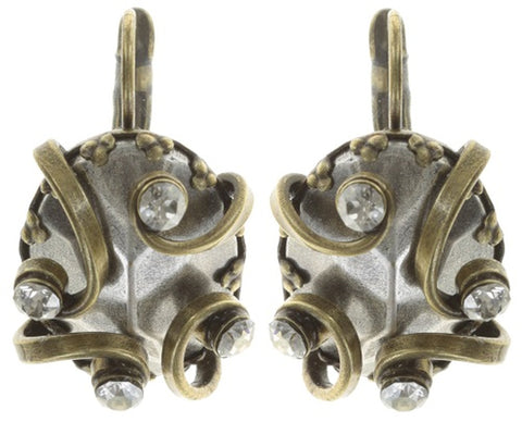 earring eurowire Dragon Shield white antique brass/antique silver