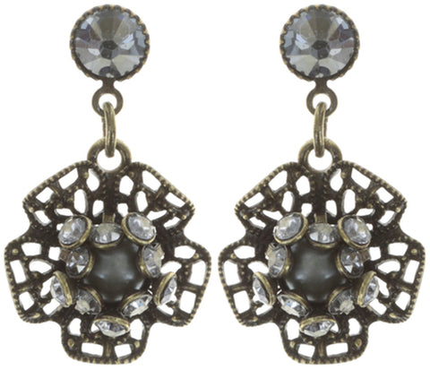earring stud dangling Flamenco grey antique brass extra small