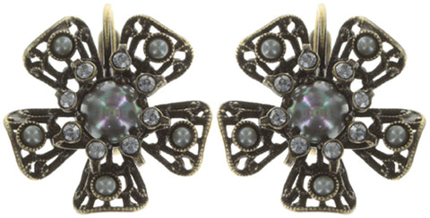 earring eurowire Flamenco grey antique brass small