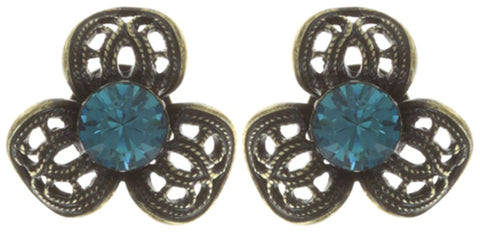 earring stud Nostalgia light blue antique brass