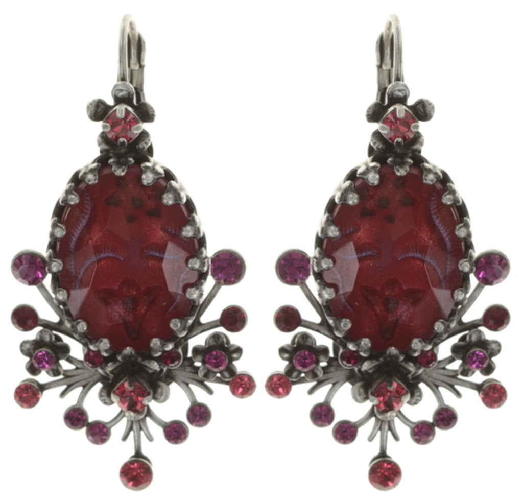 earring eurowire Eternal Glory red antique silver