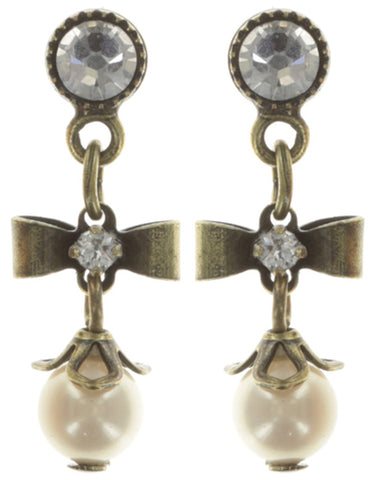 earring stud dangling Pearl 'n' Ribbons white antique brass