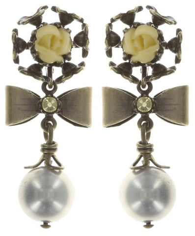 earring stud dangling Arsenic in Old Lace light pastel multi antique brass