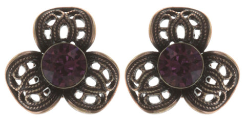 earring stud Nostalgia dark red antique copper