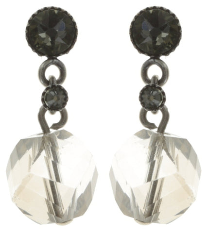 earring stud dangling Pool-Side Story grey antique silver