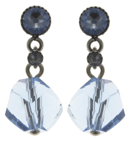 earring stud dangling Pool-Side Story dark blue antique silver