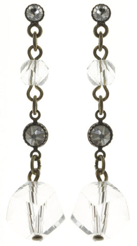earring stud dangling Pool-Side Story white antique brass
