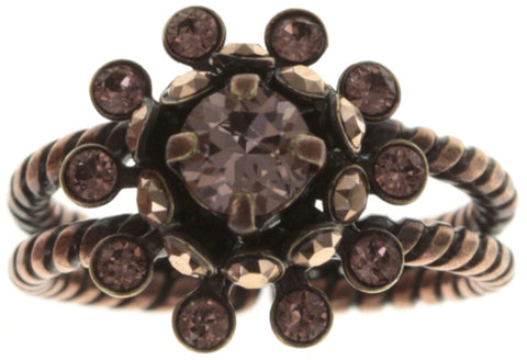 ring Pool-Side Flower pink antique copper