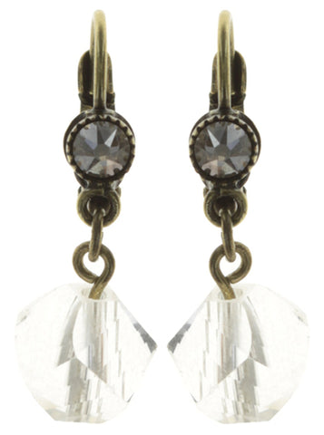 earring eurowire dangling Pool-Side Story white antique brass