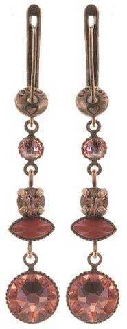 earring dangling Mini Treasure coralline antique copper