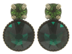 earring stud Mini Treasure dark green antique brass