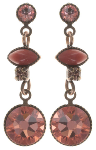 earring stud dangling Mini Treasure coralline antique copper