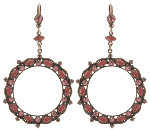 earring eurowire dangling Mini Treasure coralline antique copper