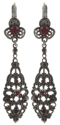earring eurowire dangling Nostalgia red dark antique silver