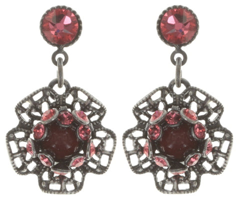 earring stud dangling Flamenco red Dark Antique Silver extra small