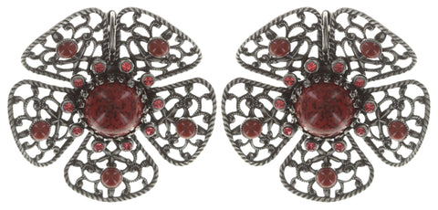 earring eurowire Flamenco red Dark Antique Silver large