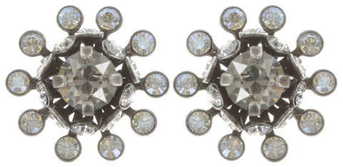 earring stud Pool-Side Flower white antique silver