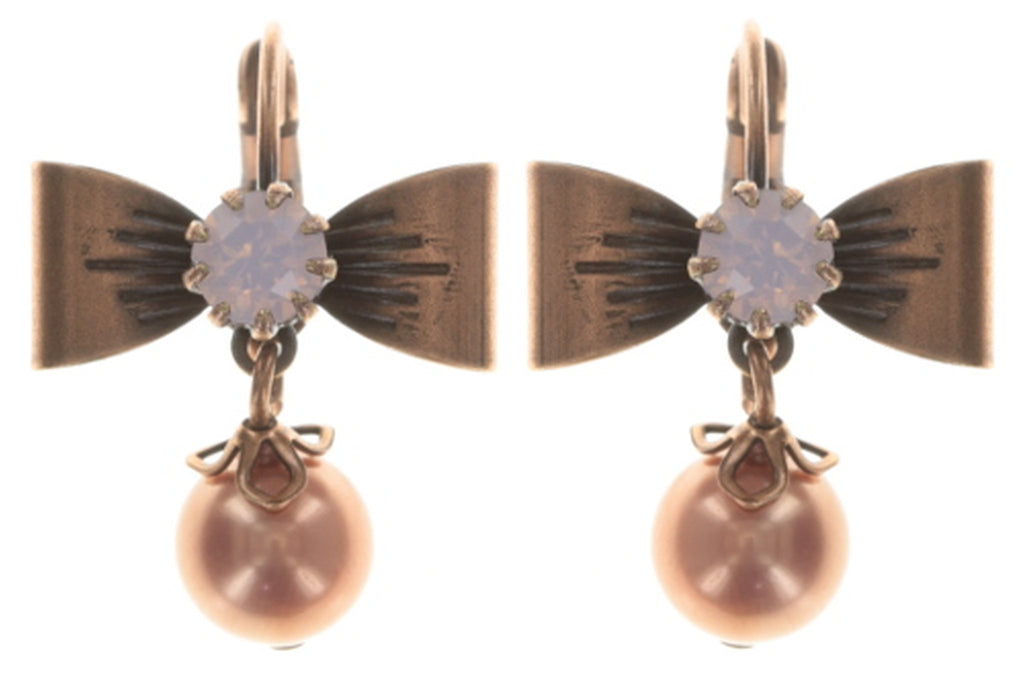 earring eurowire dangling Pearl 'n' Ribbons pink antique copper