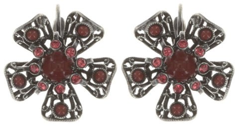 earring eurowire Flamenco red Dark Antique Silver small