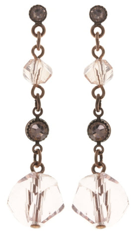 earring stud dangling Pool-Side Story pink antique copper