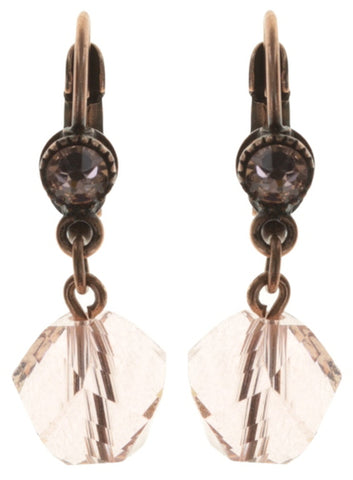 earring eurowire dangling Pool-Side Story pink antique copper