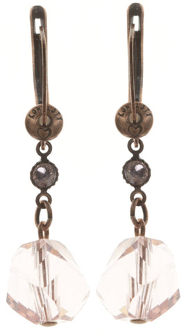 earring dangling Pool-Side Story pink antique copper