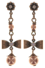 earring stud dangling Pearl 'n' Ribbons pink antique copper