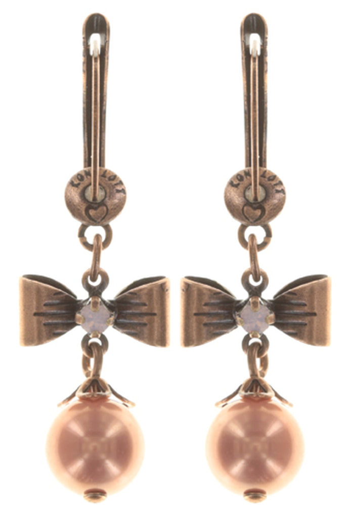 earring dangling Pearl 'n' Ribbons pink antique copper