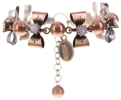 bracelet Pearl 'n' Ribbons pink antique copper
