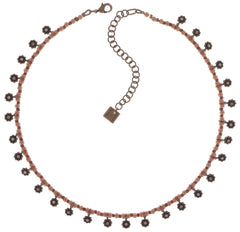 necklace Pearl 'n' Ribbons pink antique copper