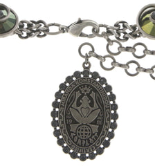 necklace Dragon Shield green antique silver/antique brass
