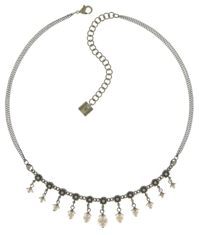 necklace Pearl 'n' Ribbons white antique brass