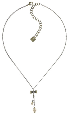 necklace-Y Pearl 'n' Ribbons white antique brass