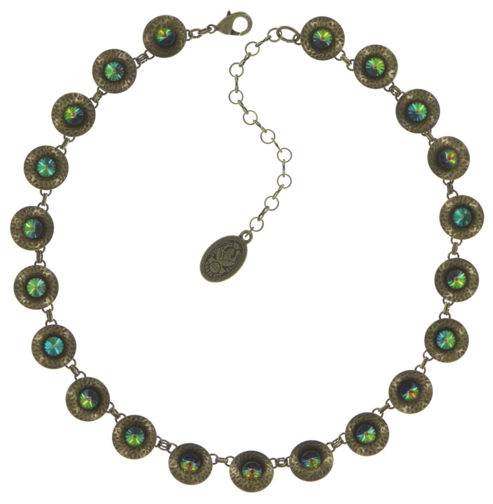 necklace Rivoli Concave green antique brass extra small