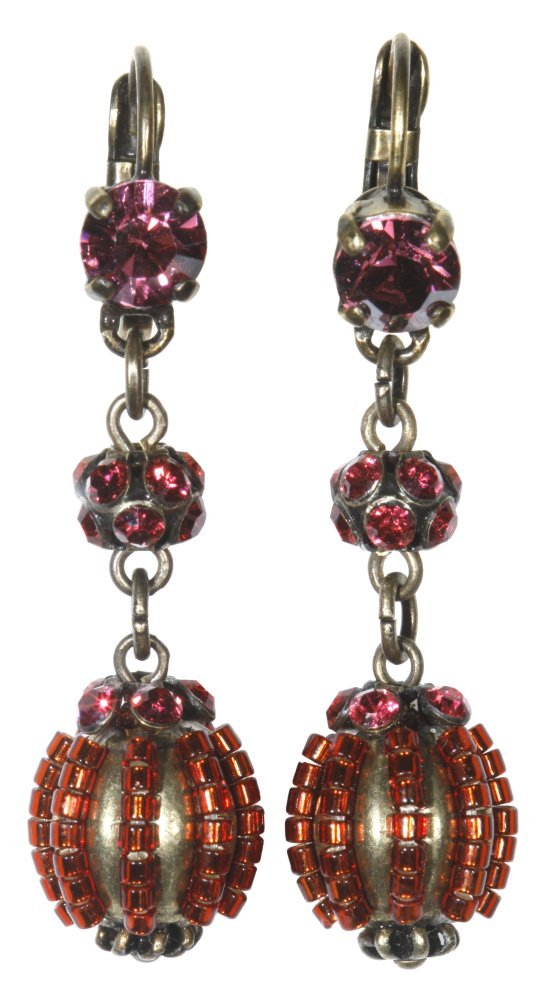earring eurowire dangling Aladdin coralline antique brass