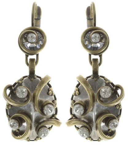 earring eurowire dangling Dragon Shield white antique brass/antique silver