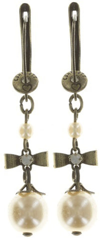 earring dangling Pearl 'n' Ribbons white antique brass