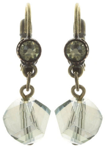 earring eurowire dangling Pool-Side Story green antique brass