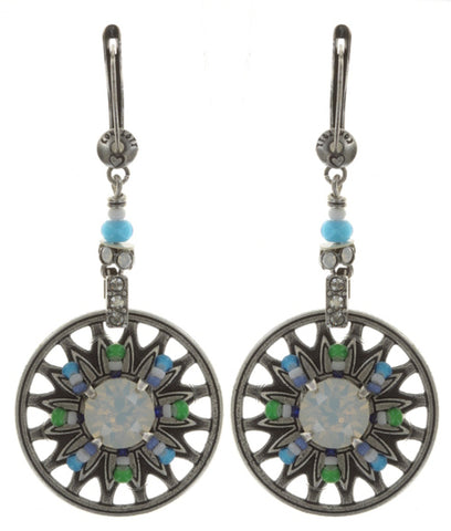 earring dangling Dream Catcher green/white/blue antique silver small