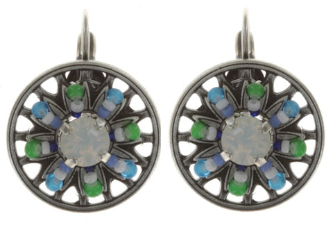 earring eurowire Dream Catcher green/white/blue antique silver extra small